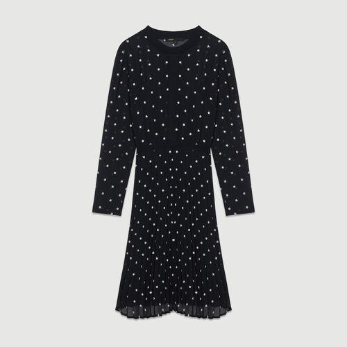 Robe plissée avec broderies : Robes couleur BLACK