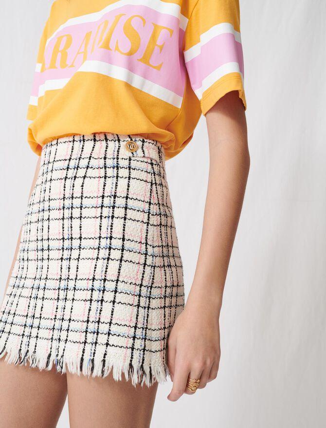 Tweed-style mini skirt with fringing -  - MAJE