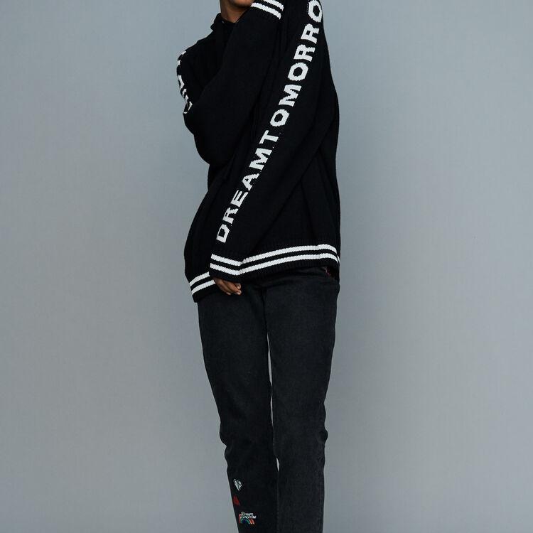 Pull oversize à capuche : Prêt-à-porter couleur Black