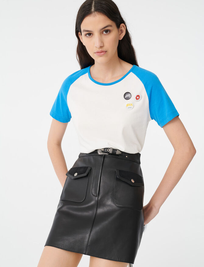 T-shirt with contrasting sleeves - T-Shirts - MAJE