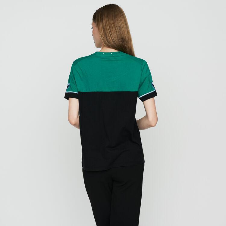 Tee-shirt bicolore avec broderie : T-Shirts couleur MULTICO