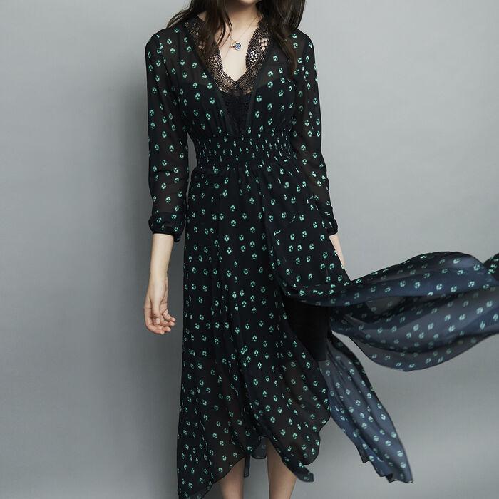 Robe longue asymétrique imprimée : Robes couleur IMPRIME
