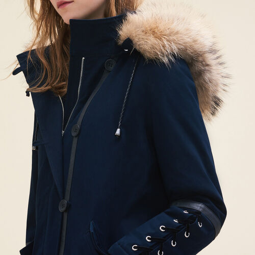 Cropped parka with laced detail - Coats - MAJE