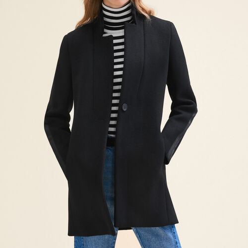 Straight-cut wool coat - Coats - MAJE