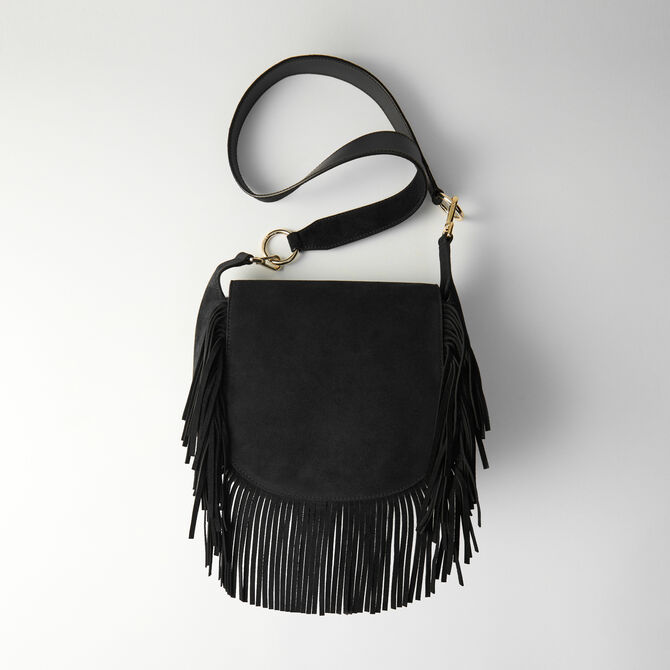 Leather and suede fringe Gyps GM handbag - Other M - MAJE