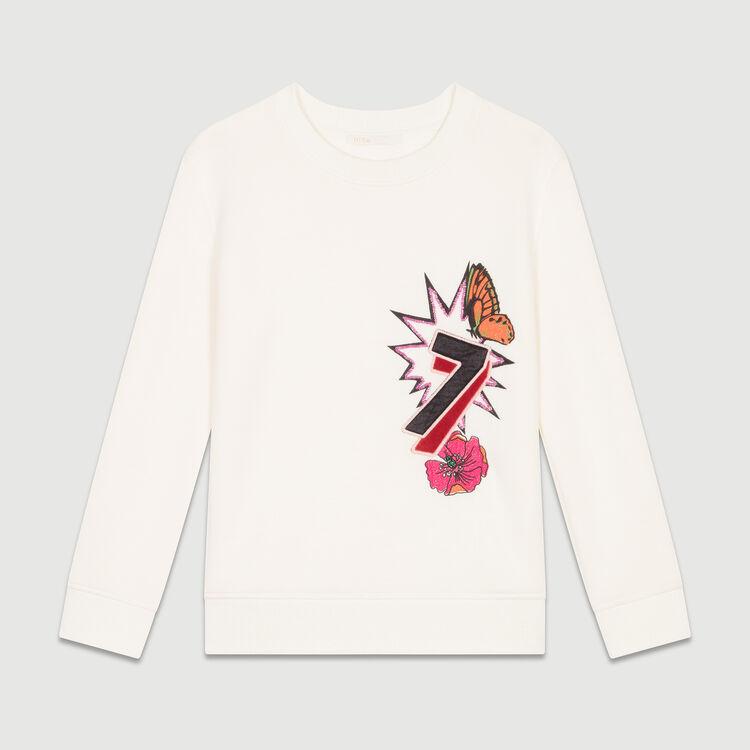 Sweat-shirt molletonné avec impression : Maille couleur ECRU
