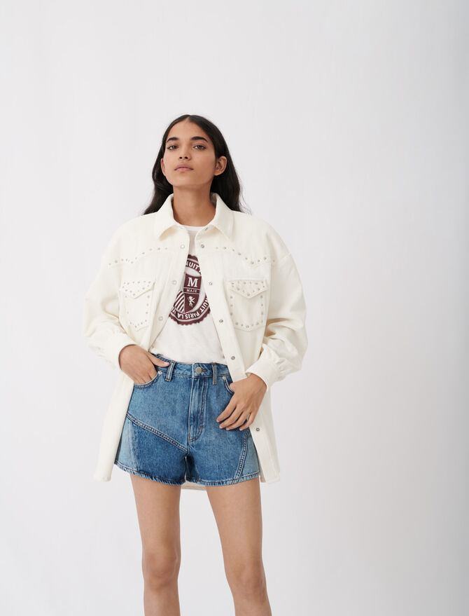 Corduroy overshirt with studs - Tops & Shirts - MAJE