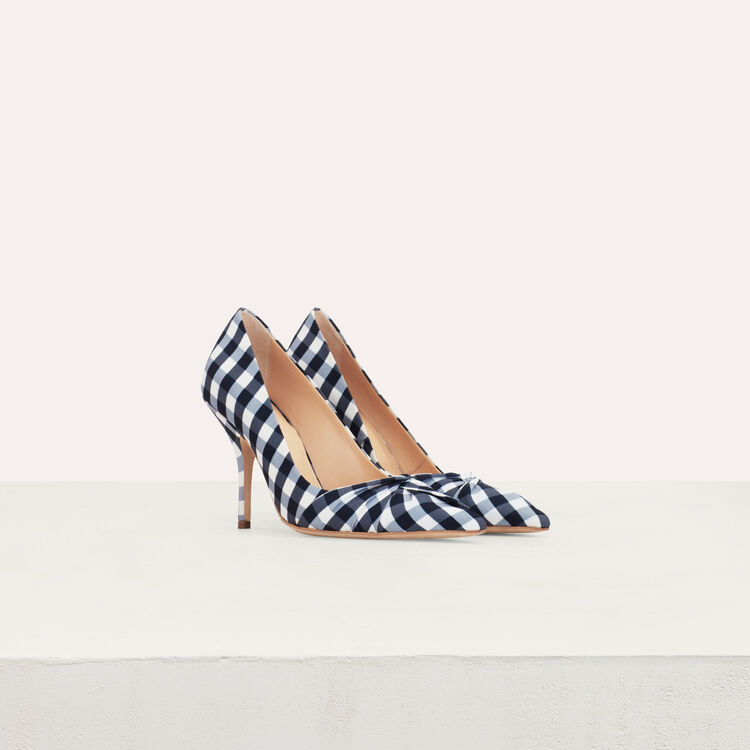 Heels draped in vichy blue : Slipper color Blue