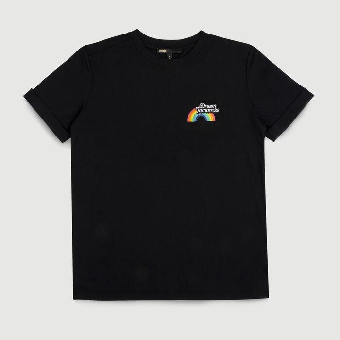 Tee-shirt en coton avec impression : T-Shirts couleur Black