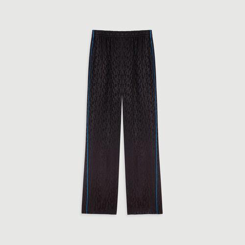 Flowing satin jacquard pants : Winter collection color Black