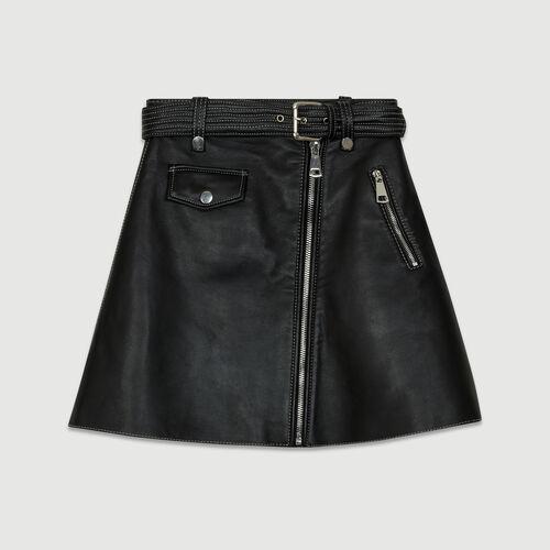 Jupe trapèze en cuir : Les Essentiels couleur BLACK