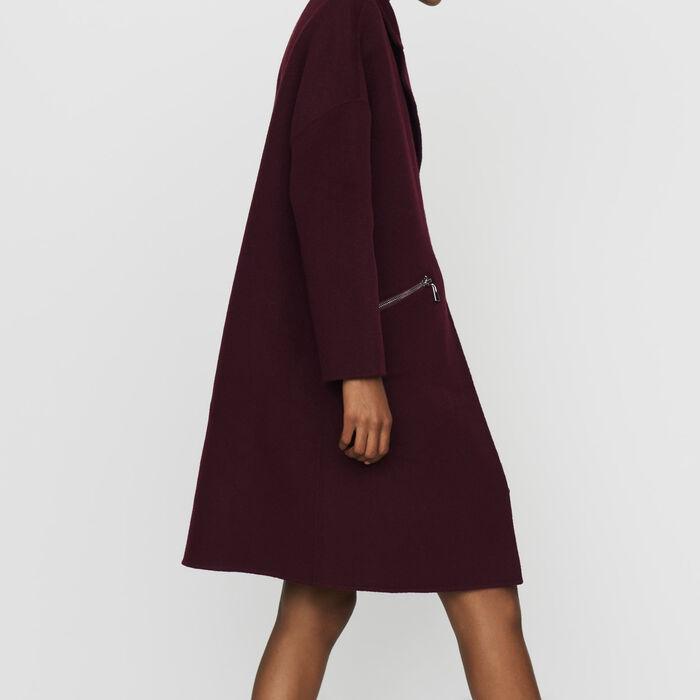 Manteau en laine double face : Prêt-à-porter couleur BORDEAUX
