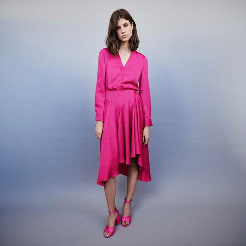 Asymmetrical satin dress : Dresses color FUCHSIA