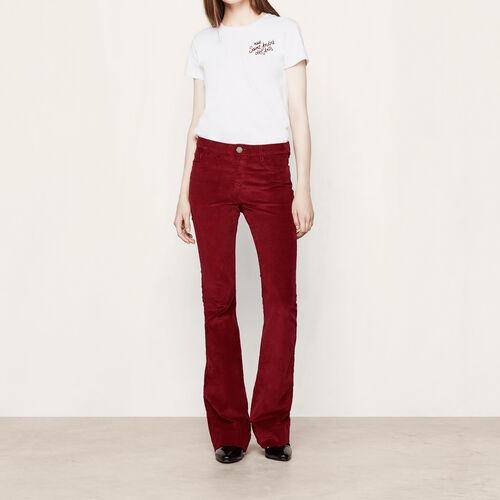 Pantalon en velours côtelé : Pantalons & Jeans couleur BORDEAUX