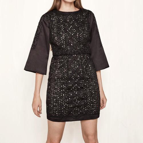 Robe courte en satin brodée de perles : Robes couleur Black