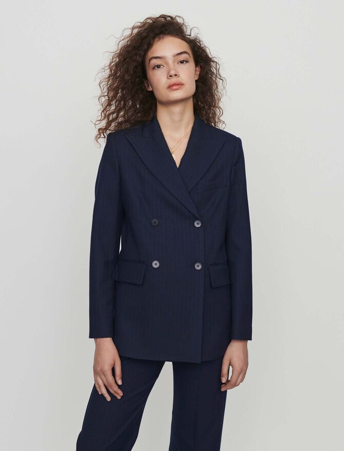 Racing-striped double breasted jacket - Blazers - MAJE