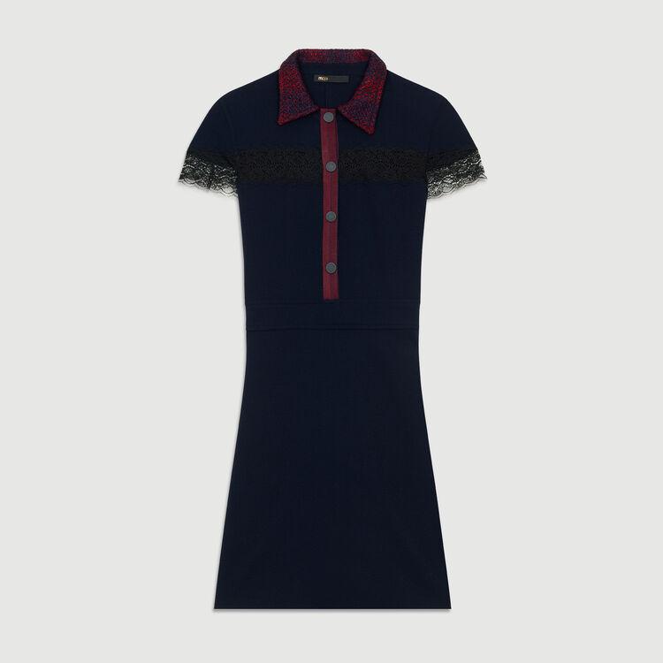 Robe-chemise en crêpe et dentelle : Robes couleur Marine