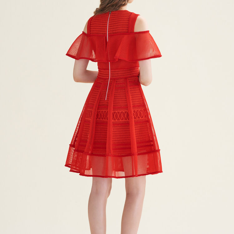Robe sans manches en maille filet : Robes couleur Rouge