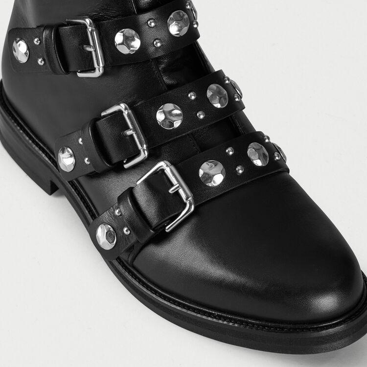 Bottines plates en cuir et studs : Bottines couleur Black