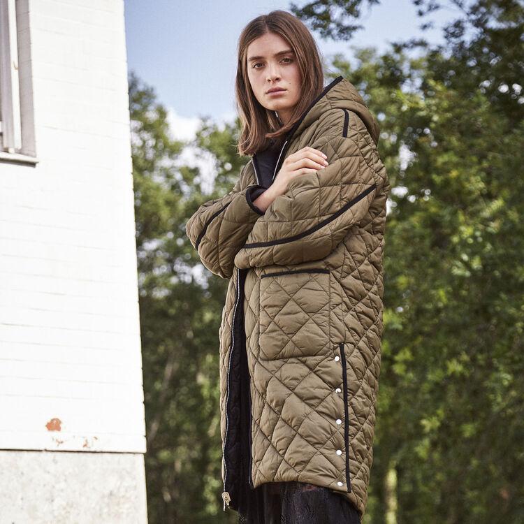 Doudoune longue réversible : Manteaux couleur Kaki