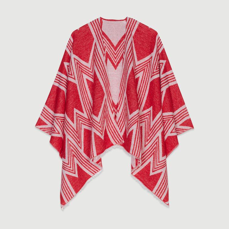 Poncho à motif M art déco : Châles & Ponchos couleur ROUGE