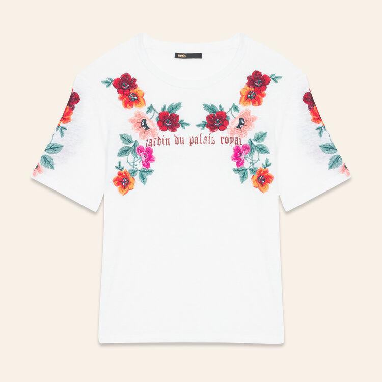 Tee-shirt avec broderies : T-shirts couleur ECRU