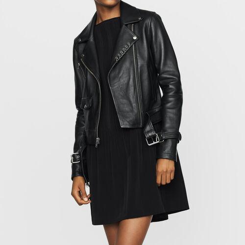 Blouson en cuir esprit biker : Blousons couleur BLACK
