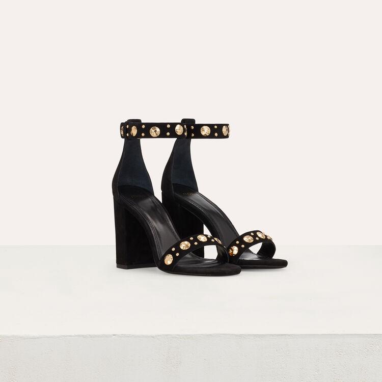 Sandales en suède à talon : Escarpins couleur Black