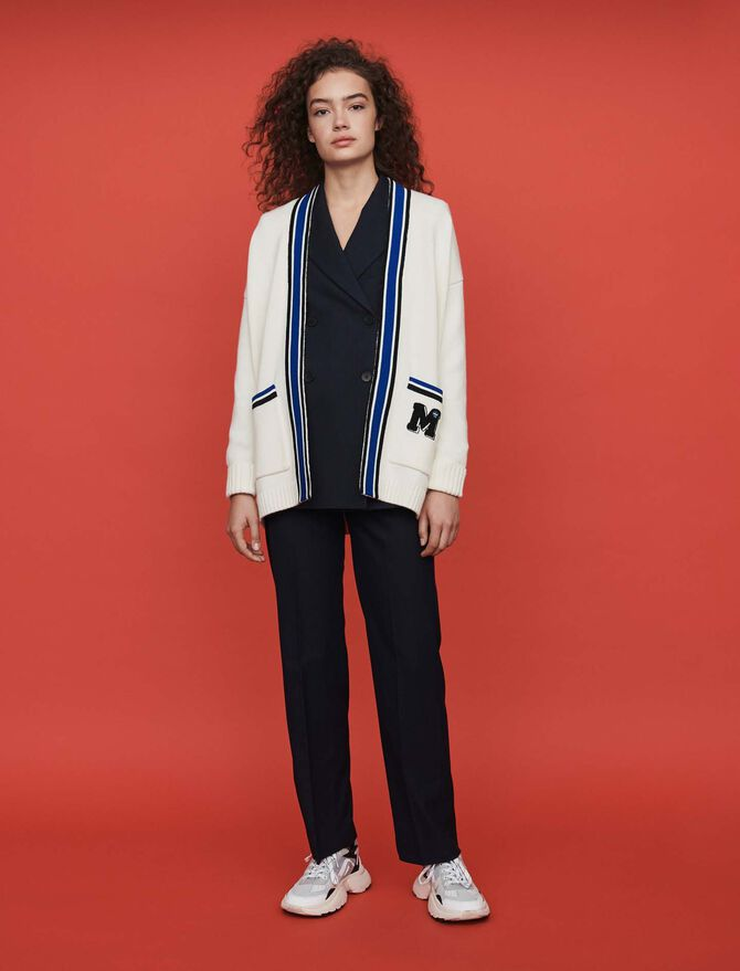 Contrast striped embroidered cardigan - Pullovers & Cardigans - MAJE