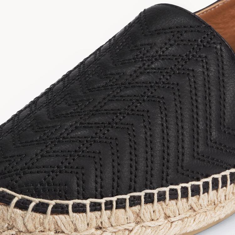 Espadrilles en cuir avec broderies : Accessoires couleur Black