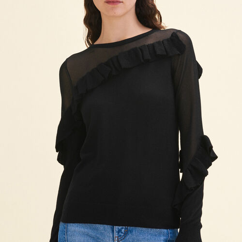 Fine jumper with frills : See all color Black 210