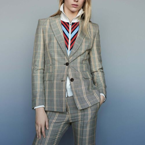 Checked jacket with shoulder pads - Pre-collection - MAJE