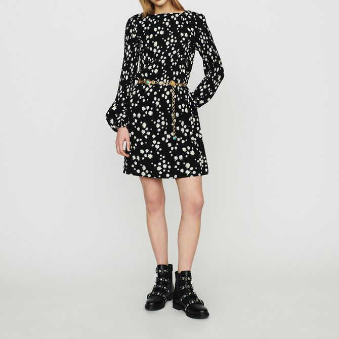 Pleated dress with daisy print - See all - MAJE