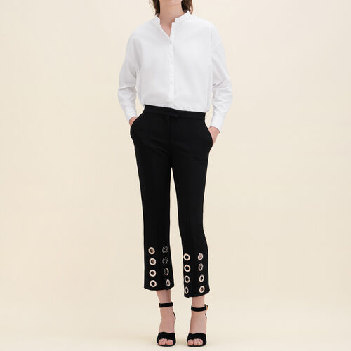 Straight-cut crêpe trousers with eyelets : 70% off color Black 210