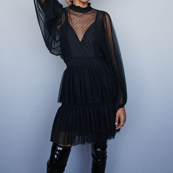 Plumetis tulle dress with ruffles - See all - MAJE