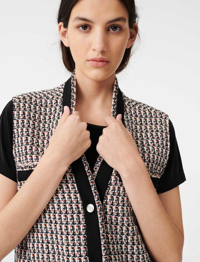 Sleeveless lurex tweed-style jacket -  - MAJE