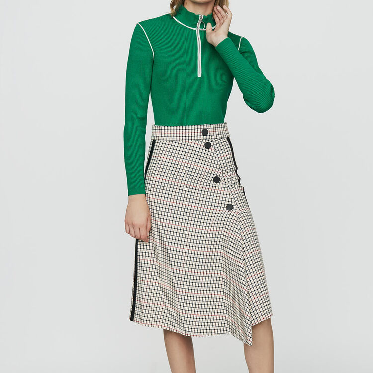 Jupe longue asymétrique à carreaux : Jupes & Shorts couleur CARREAUX