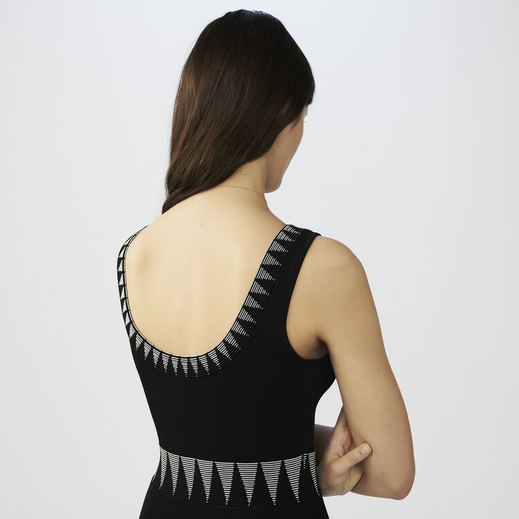 Robe longue sans manches en maille : Robes couleur Black