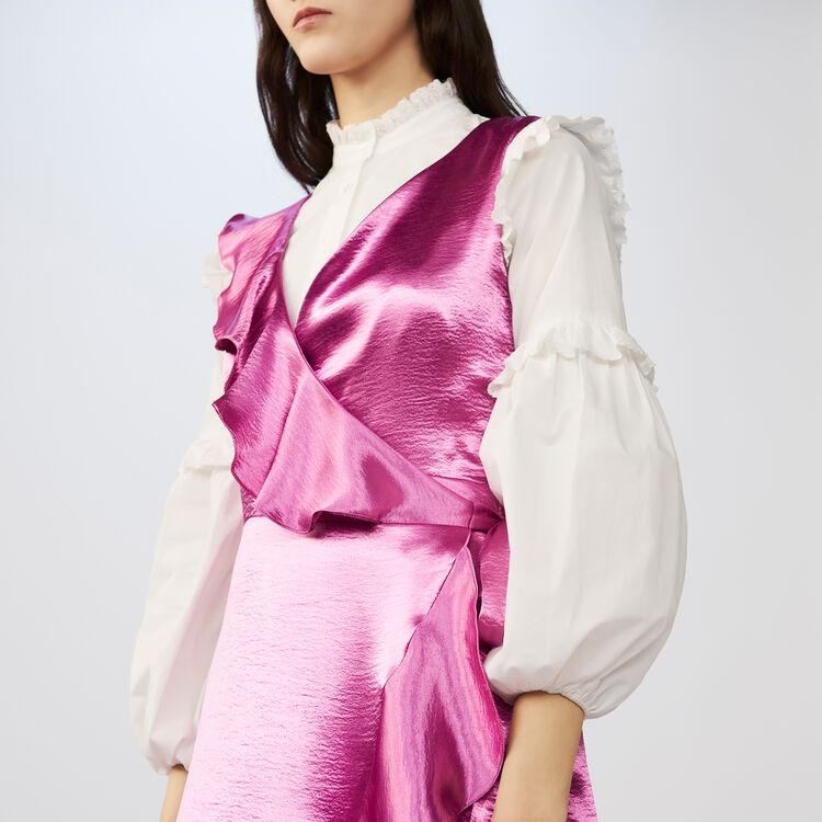 Robe portefeuille sans manches satinée : Robes couleur Fushia