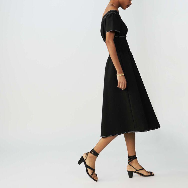 Robe smockée avec épaules dénudées : Robes couleur Black
