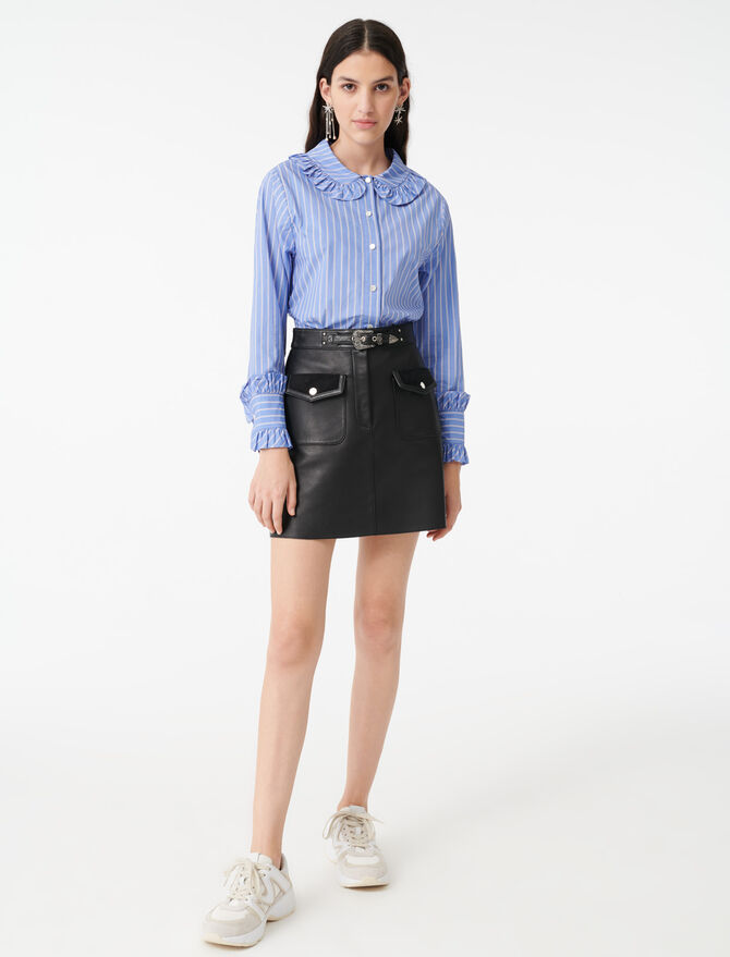 Striped shirt with a frilled collar - Tops & Shirts - MAJE