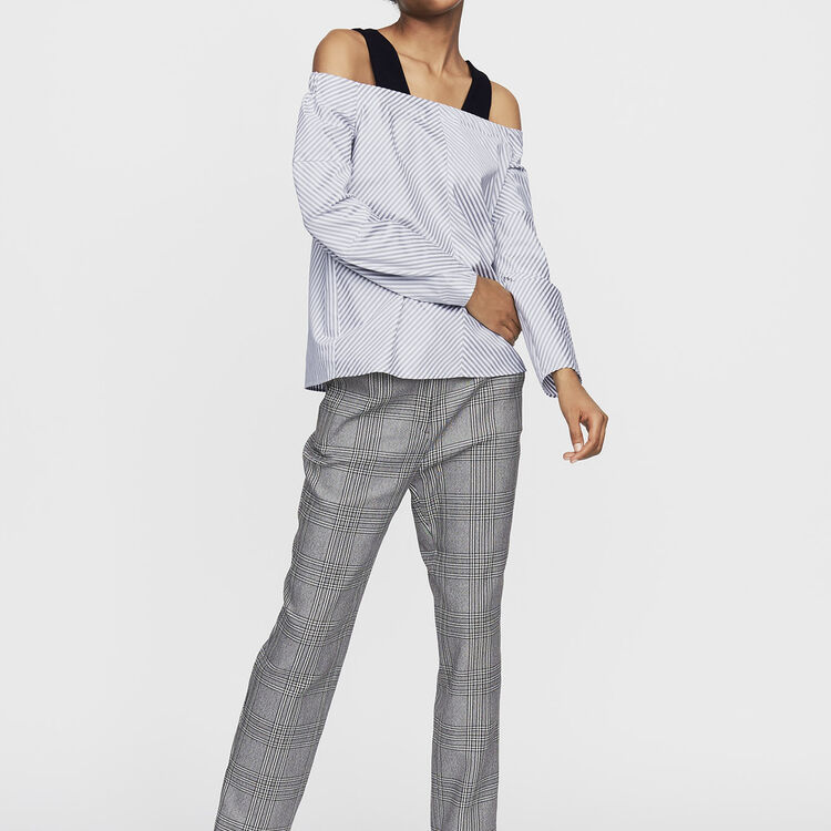 Top à épaules dénudées en coton rayé : Tops couleur Rayure