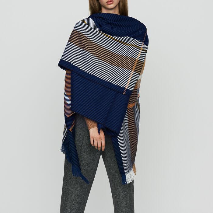 Poncho à motif carreaux : Châles & Ponchos couleur MULTICO