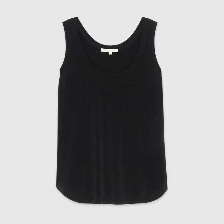 Débardeur col rond en cupro : T-Shirts couleur BLACK