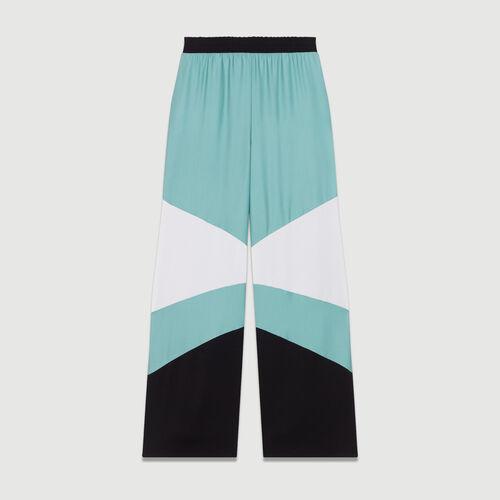 Pantalon large multicolore : Pantalons couleur MULTICO