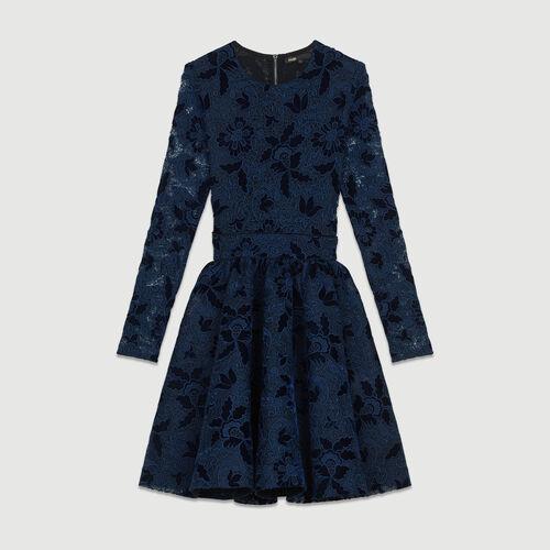 Robe à manches longues en guipure : Robes couleur MARINE