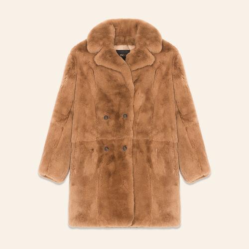 Manteau en lapin : Manteaux couleur BEIGE