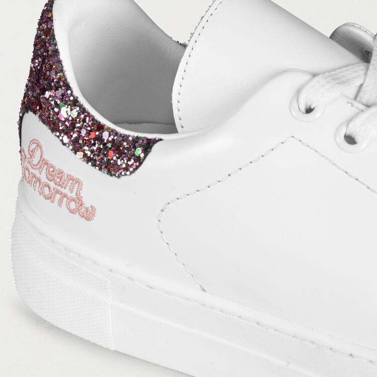 Baskets en cuir avec détail pailleté : Sneakers couleur Blanc