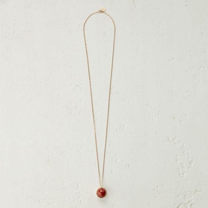 Collier long avec pendentif en pierre : Bijoux couleur ROUGE