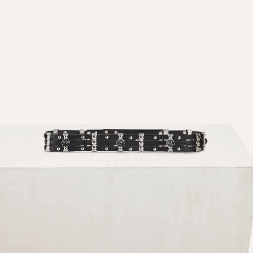 High-waisted leather belt and studs : Belts color Black 210